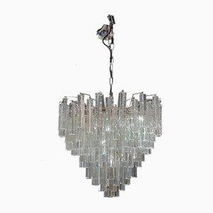 Lámpara de araña vintage de cristal de Murano claro de Venini