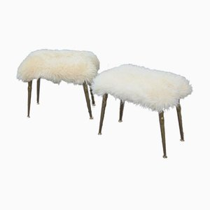 Vintage Rectangular Italian Sheepskin Stools, Set of 2