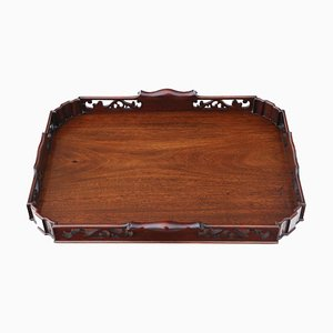 Fret Cut Mahogany Serving Tray, 1920s