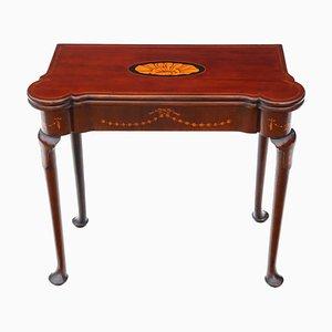 Tavolo da gioco pieghevole antico in mogano intarsiato, metà XVIII secolo