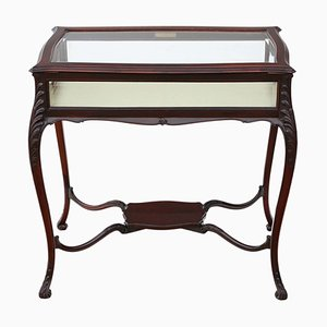 Antique Mahogany Display Cabinet Side Table