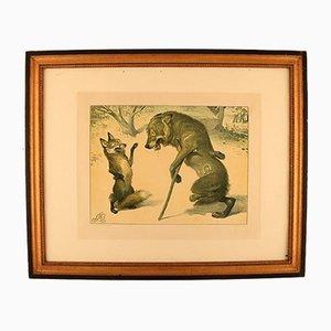 Antike Lithografie von Louis Moe