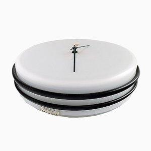 Reloj Mid-Century grande en blanco y negro de Kastrup / Holmegaard