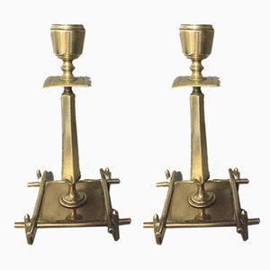 Antique Brass Candle Holders, Set of 2