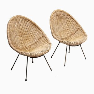 Basket Easy Chairs, 1950s, Set of 2