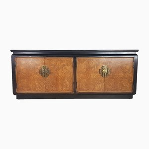 Black Lacquer and Burl Wood Sideboard from Century Furniture, 1970s