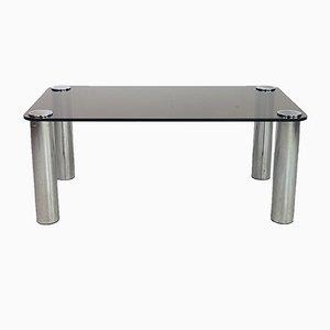 Table Basse en Verre et Chrome, 1970s