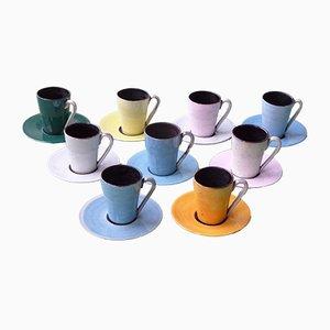 Tazas y platillos de cerámica de Linck Margrit, años 50. Juego de 9