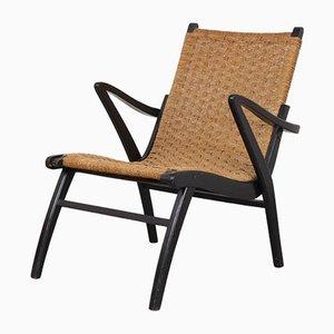 Sessel mit schwarzem Gestell & Sitz aus Papierkordelgeflecht, 1960er