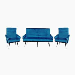Blue Sofa and Armchairs Set by Nino Zoncada, 1950s, Set of 3