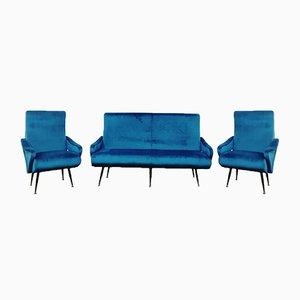 Conjunto de sofá y butacas en azul de Nino Zoncada, años 50. Juego de 3