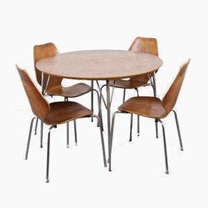Tavolo da pranzo in alluminio e compensato con sedie di Fritz Hansen, Danimarca, anni '60, set di 5