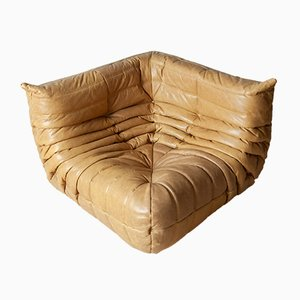 Camel Brown Leather Togo Corner Couch by Michel Ducaroy for Ligne Roset, 1990s