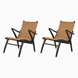 Niederländische Sessel mit schwarzem Gestell & Sitz aus Papierkordelgeflecht, 1960er, 2er Set