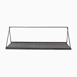 Dutch Black Perforated Metal Wall Shelf from Pilastro, 1960s