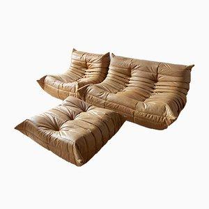 Camel Leather Togo Living Room Set by Michel Ducaroy for Ligne Roset, 1980s, Set of 3