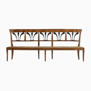 Antique Biedermeier Walnut Bench