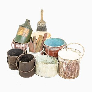 Antique Paint & Varnishing Canisters, Set of 9