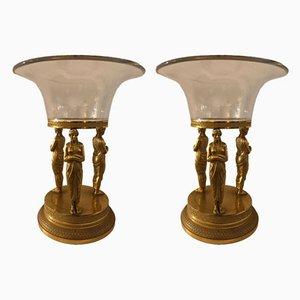 Centrotavola antichi in bronzo, set di 2