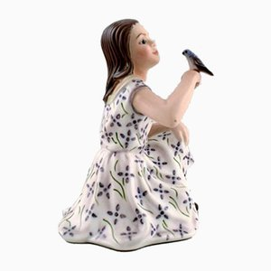 Vintage Porcelain Model 1366 Girl with Bird Figurine by Dahl Jensen