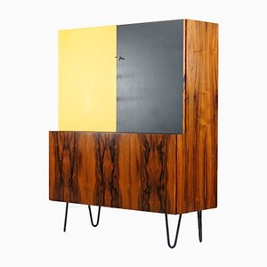 Vintage Yellow & Anthracite Lacquered Rosewood Highboard, 1967