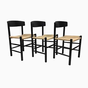 Model J39 Black Lacquer Dining Chairs by Børge Mogensen for FDB, 1983, Set of 3