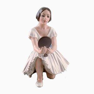 Vintage Modell 1224 Ballerina mit Spiegel aus Porzellanfigur von Dahl Jensen