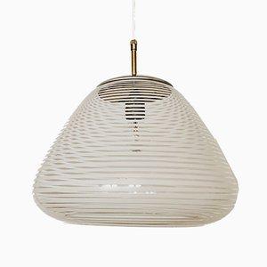 Lámpara colgante de vidrio estructurado de Wilhelm Wagenfeld para Peill & Putzler, años 50