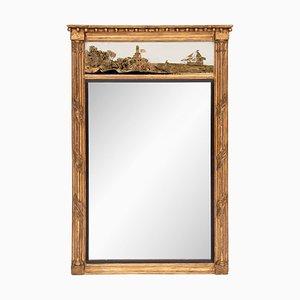 Antiker nautischer Spiegel mit goldenem Rahmen, 1800er