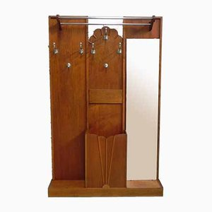 Large Art Deco Coat Rack with Mirror, 1930s