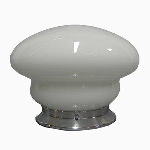 Weiße Art Déco Deckenlampe aus Glas, 1930er