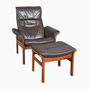 Swedish Armchair and Ottoman from Gote Mobel, 1963, Set of 2