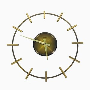 Mid-Century Brass and Acrylic Glass Wall Clock from Diehl