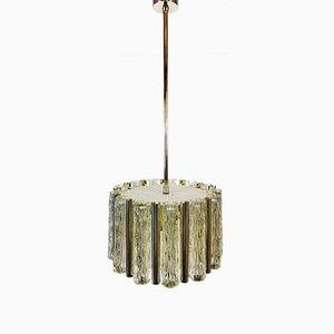 Lampe à Suspension Mid-Century en Laiton et Verre Givré de Kaiser Idell / Kaiser Leuchten, 1960s