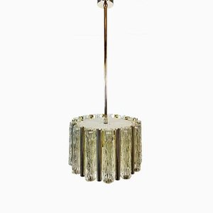 Mid-Century Brass & Ice Glass Pendant Lamp from Kaiser Idell / Kaiser Leuchten, 1960s