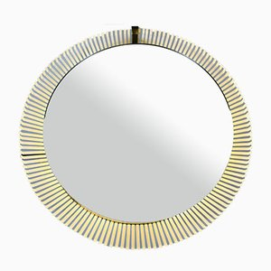 Specchio rotondo Mid-Century con luce di Stilnovo