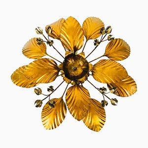 Vintage German Golden Wheat Sheaf Flush Mount from Hans Kögl, 1970s
