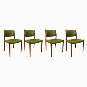 Mid-Century Model 80 Green Leather Side Chairs by Niels Otto Møller, Set of 4
