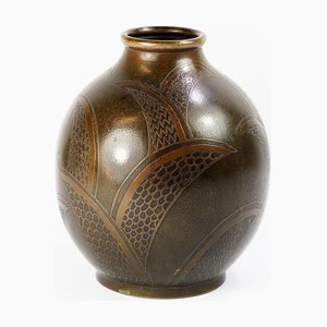 Französische Art Déco Dinanderie Evolution Vase aus Messing von Paul Louis Mergier
