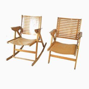 Fauteuil et Rocking Chair Modèle Rex par Niko Kralj, 1952, Set de 2