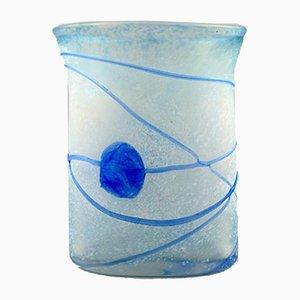 Hellblaue schwedische Vintage Vase aus mundgeblasenem Kunstglas von Bertil Vallien für Kosta Boda