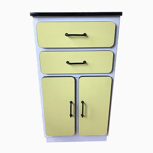 Mid-Century Yellow & White Formica Cabinet