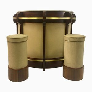 Vintage Italian Walnut & Brass Bar & 2 Stools Set by Luciano Frigerio for Frigerio Di Desio, 1970s