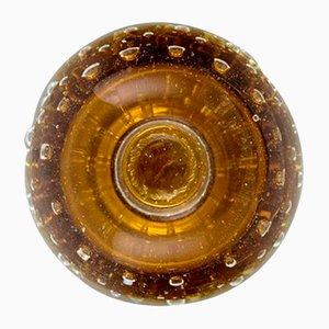Vintage Kerzenhalter aus mundgeblasenem Muranoglas in Bernsteingelb