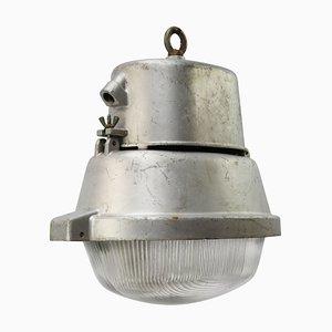 Industrielle Vintage Straßenlampe aus grauem Aluminium & Glas, 1950er