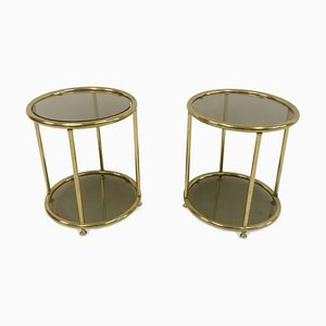 Vintage Italian Brass Side Tables, 1970s, Set of 2