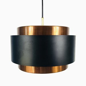 Black & Copper Circular Pendant Lamp from Fog & Mørup, 1970s