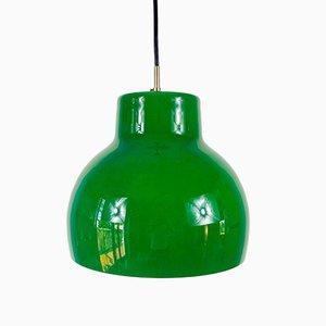 Grüne Vintage Hängelampe aus Glas von Peill & Putzler, 1970er