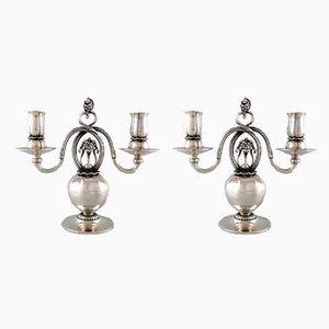 Dänische Vintage Kerzenhalter aus Silber mit 2 Leuchten von Georg Jensen, 2er Set