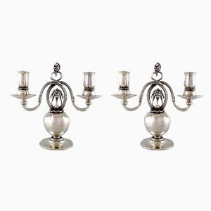 Vintage Danish Silver 2-Light Candleholders from Georg Jensen, Set of 2